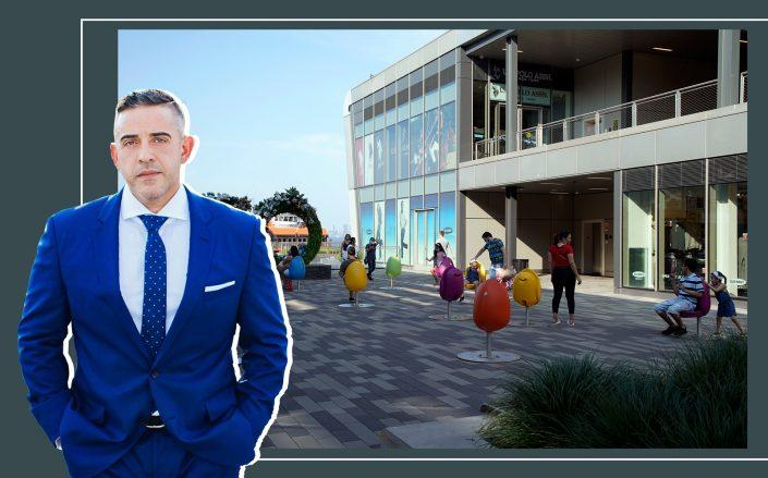 BFC Partners principal Joseph Ferrara and Empire Outlets in Staten Island (Images via Facebook; Getty)