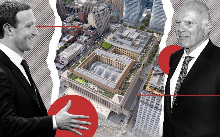 Facebook CEO Mark Zuckerberg, a rendering of the Farley Post Office building redevelopment and Vornado's Steve Roth (Credit: Getty Images, VNO)