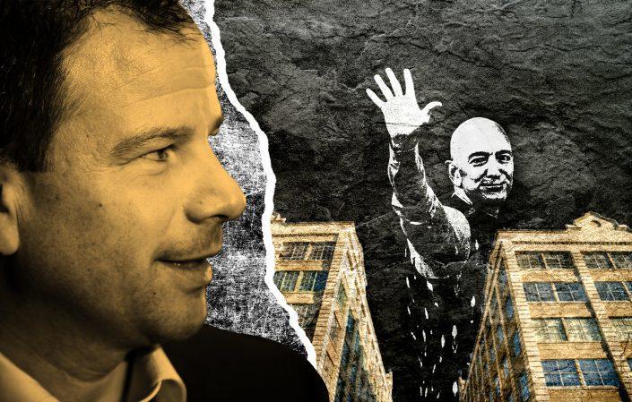 Industry City CEO Andrew Kimball with Amazon CEO Jeff Bezos (Photos via Getty; iStock; Industry City)