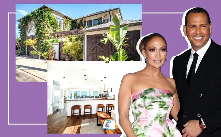 Jennifer Lopez and Alex Rodriguez with their Malibu beach house (Getty; Courtesy Compass)