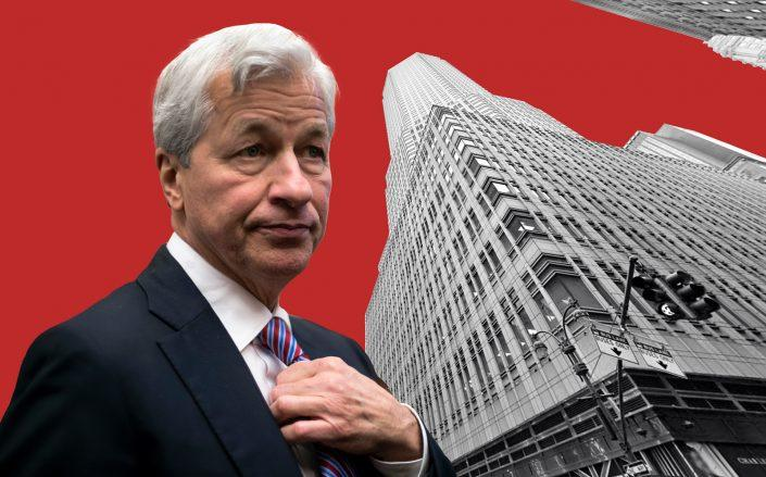 JPMorgan CEO Jamie Dimon and 383 Madison Avenue (Getty; Google Maps)