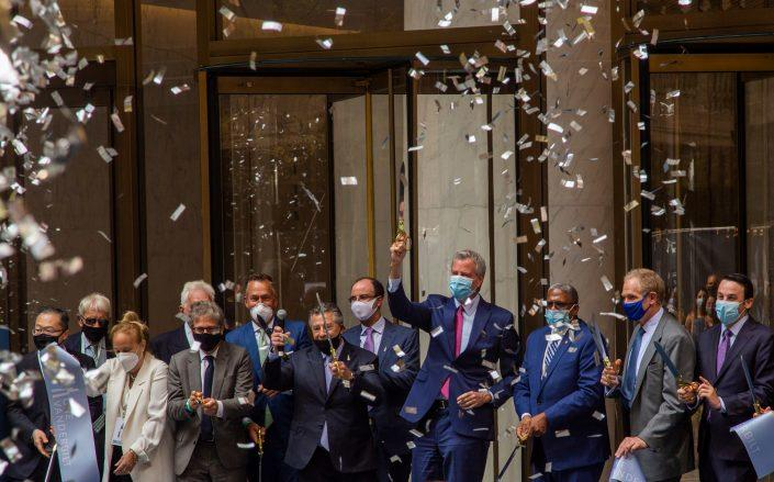 SL Green cut the ribbon on One Vanderbilt Monday as business leaders push companies to return to the office (Credit: Jakob Kahlin)
