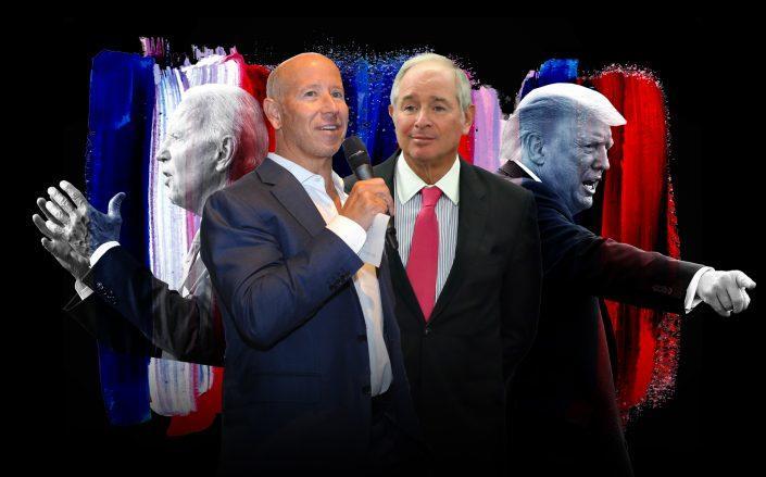 From left: Joe Biden, Starwood Capital's Barry Sternlicht, Blackstone's Stephen Schwarzman and Donald Trump (Getty; iStock)