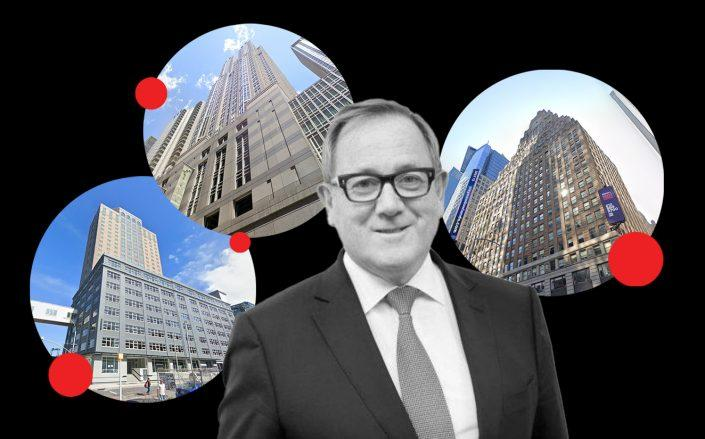 Regus CEO Mark Dixon with 175 Pearl Street in Brooklyn, 1325 Sixth Avenue and 1501 Broadway (Regus, Google Maps)