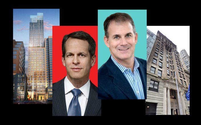 From left: Embassy Suites at 60 West 37th Street, Ashford Hospitality Trust CEO Douglas Kessler, Magna Hospitality Group CEO Robert Indeglia and Royalton Hotel at 44 West 44th Street (Ashford, Magna Hospitality, Google Maps)