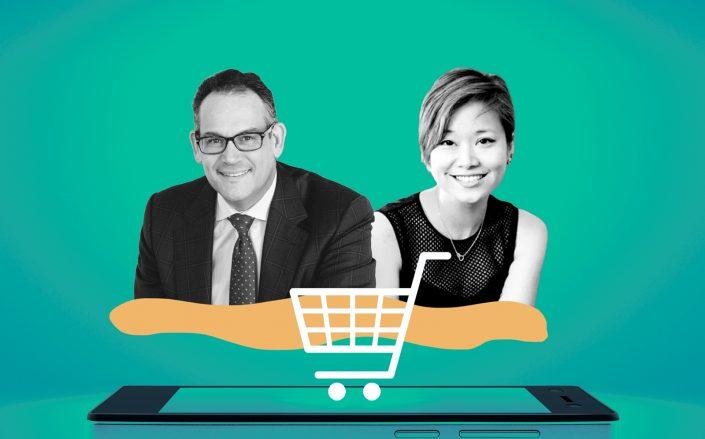Simon Property Group CEO David Simon and ShopShops CEO Liyia Wu (LinkedIn; iStock)