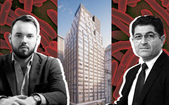 Sonder CEO Francis Davidson and Nathan Berman with 20 Broad Street (Images via CityRealty; Twitter)