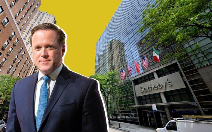 Sotheby's CEO Charles Stewart and 1334 York Avenue (Sotheby's; Google Maps)