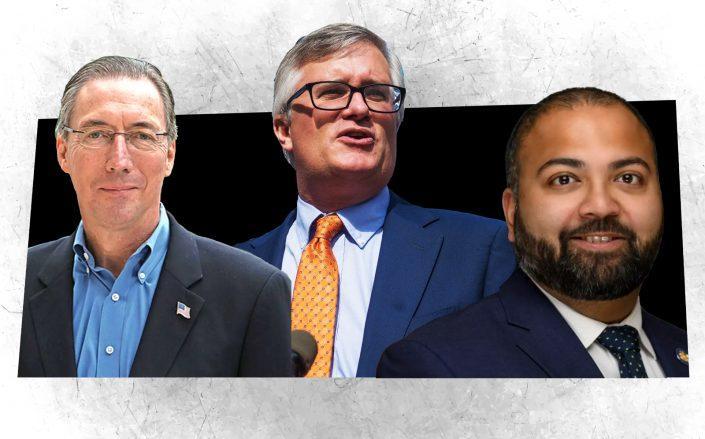 State Sens. James Gaughran, Brian Kavanagh and Kevin Thomas (NY Gov; Getty)