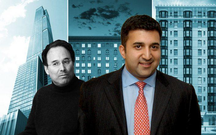 Gary Barnett and Sush Torgalkar with 225 West 57th Street, 225 West 86th Street, and 169 Columbia Heights in Brooklyn (Credit: Getty Images, iStock, and CityRealty)