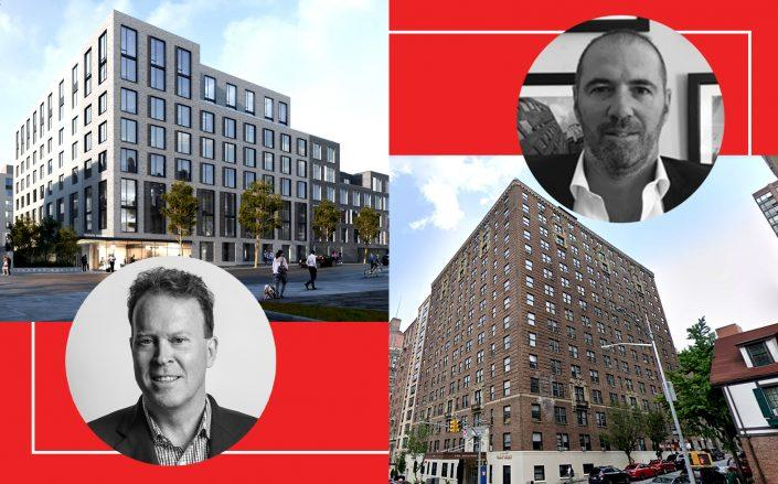 30-77 Vernon Boulevard in Queens and Cape Advisors CEO Craig Wood (left) and 720 West End Avenue in Manhattan with Brack Capital Real Estate CEO Ariel Podrojski (right) (Images via Cape Advisors; Google Maps; LinkedIn)