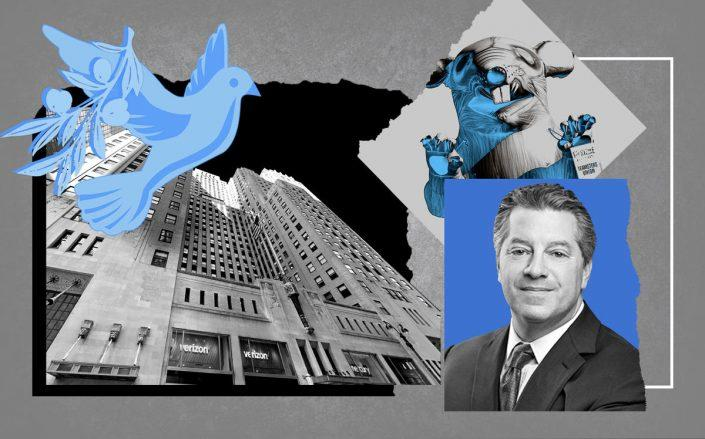 SL Green CEO Marc Holiday and 420 Lexington Avenue with Scabby the Rat (Getty; Google; SL Green)