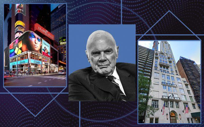 Vornado CEO Steven Roth with 1535 Broadway and 220 Central Park South (Getty, VNO, Google Maps)