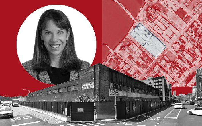 Lendlease's Melissa Burch and 18 India Street in Greenpoint (Google Maps; Connect Conferences)