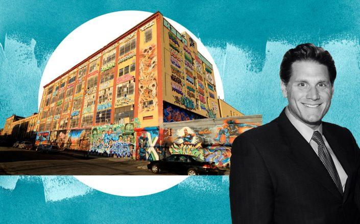 The 5Pointz warehouse with G&M Realty's David Wolkoff (Wikipedia Commons; Getty)