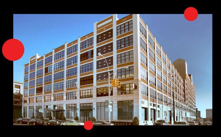 The Factory building at 30-30 47th Avenue with Square Mile Capital's Craig Solomon and Invesco CEO Marty Flanagan (Photos via The Factory; Square Mile; Invesco)