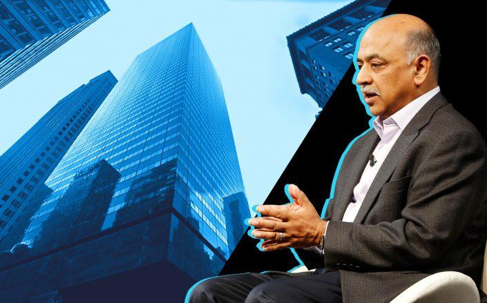 590 Madison Avenue and IBM CEO Arvind Krishna (Google Maps; Getty Images)