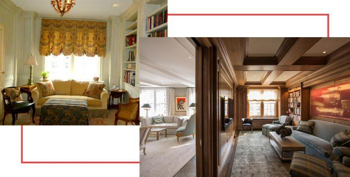 Before and after images of a library from The Renovated Home