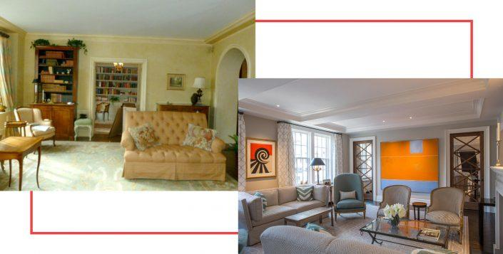 Before and after images of a living room from The Renovated Home