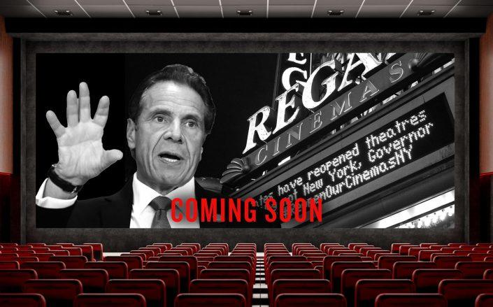 Gov. Andrew Cuomo announced that movie theaters in some New York counties can reopen, but NYC's theaters are excluded for now. (Getty; iStock)
