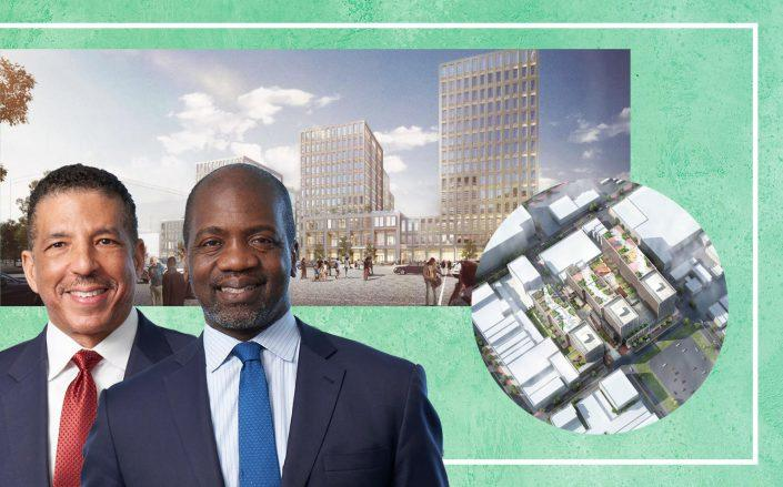 BRP Companies partners Geoff Flournoy and Meredith Marshall with renderings of 90-02 168th Street in Jamaica (Photos via BRP)