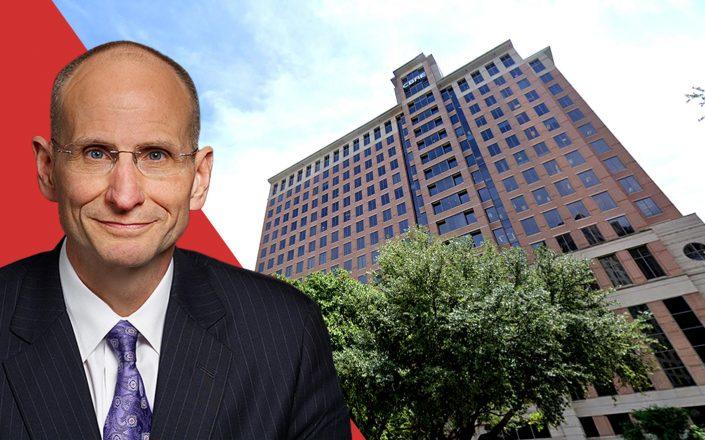 CBRE CEO Robert Sulentic and the Dallas HQ building at 2100 McKinney Avenue in Texas (CBRE; Google Maps)