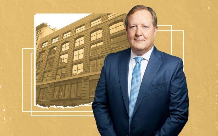 Columbia Property Trust CEO Nelson Mills and 245-249 West 17th Street (Photos via Columbia Property Trust; StreetEasy)