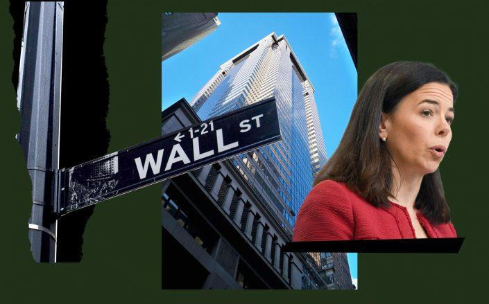 60 Wall Street and Deutsche Bank CEO of Americas Christiana Riley (Wikipedia Commons; PxHere; Getty)