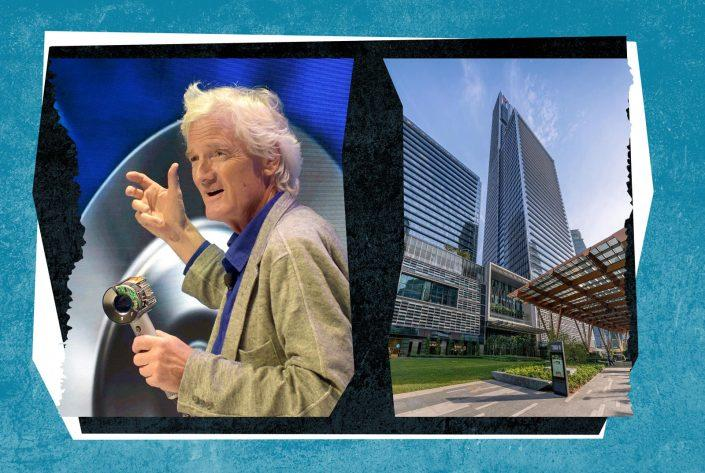 James Dyson and Guoco Tower (Getty; Wikipedia Commons)