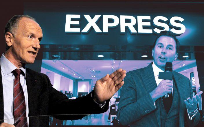 Unibail-Rodamco-Westfield CEO Christophe Cuvillier and Express CEO Timothy Baxter (Getty)