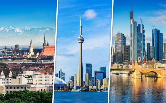 Munich skyline, Toronto skyline, and Frankfurt skyline (Credit: iStock)