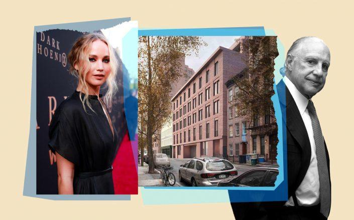 Jennifer Lawrence and 17 Jane Street with Edward Minskoff (Getty; Sciame Construction)