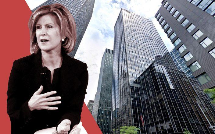 JPM asset CEO Mary Callahan Erdoes and 605 Third Avenue (Getty; Google Maps)
