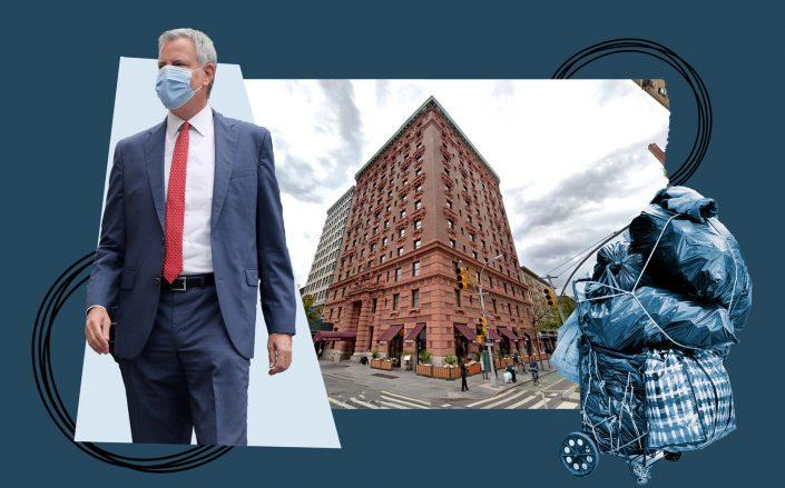 Mayor Bill de Blasio and the Lucerne Hotel at 201 West 79th Street (Getty; iStock; Google Maps)
