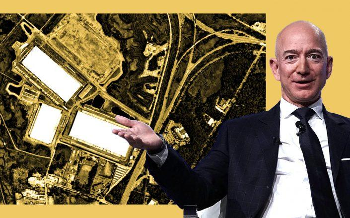 Amazon CEO Jeff Bezos and the Matrix Global Logistics Park in Staten Island (Google Maps; Getty)