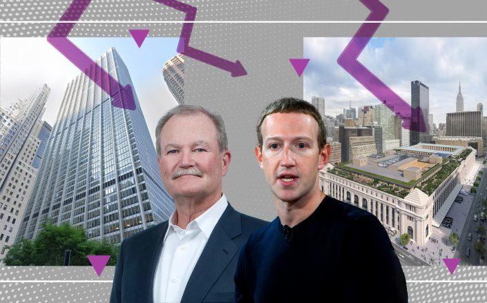From left: 28 Liberty Street with AIG CEO Brian Duperreault and Facebook CEO Mark Zuckerberg with a rendering of the Farley Post Office building redevelopment (Getty Images, SOM)
