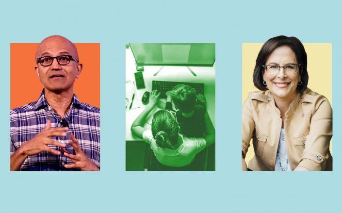 Microsoft CEO Satya Nadella and Chief people officer Kathleen Hogan (Getty; iStock; Microsoft)