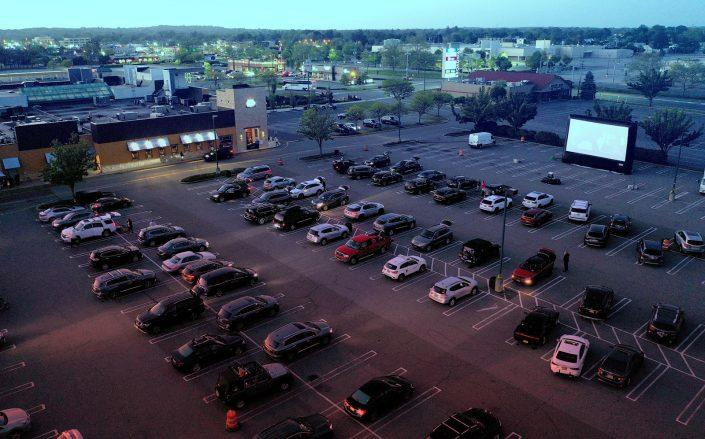 An aerial view of a pop-up drive-in theater built in the parking lot at the Broadway Commons in Hicksville, New York (Getty)