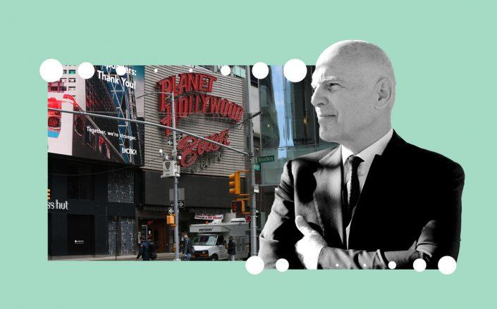 Planet Hollywood in Times Square and Vornado CEO Steven Roth (Photos via Getty; VNO)