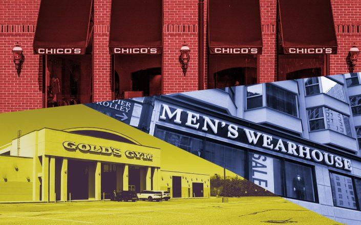 National retailers such as Chico's, Men's Wearhouse and Gold's Gym paid 86 percent of their September rent (Getty)