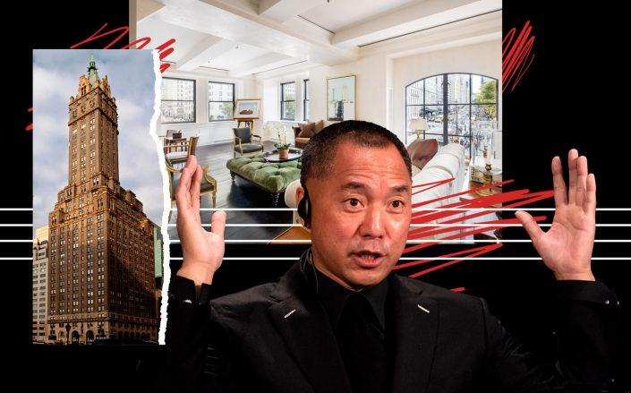Guo Wengui and the Sherry-Netherland penthouse at 781 Fifth Avenue (Photos via Wikipedia Commons; Getty Images and Douglas Elliman)