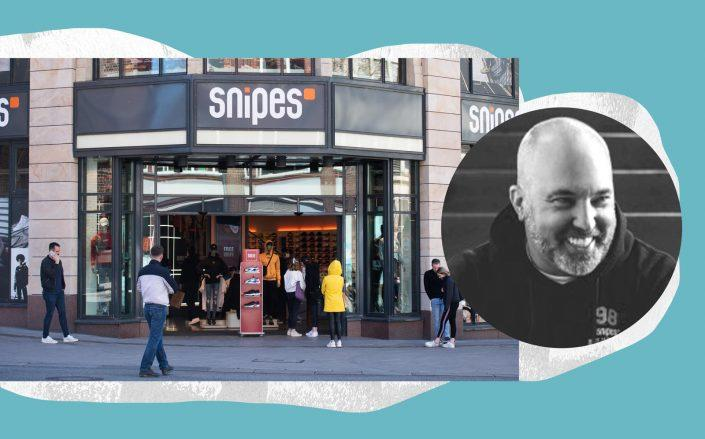 Snipes CEO Sven Voth with a Snipes storefront (Getty; LinkedIn)