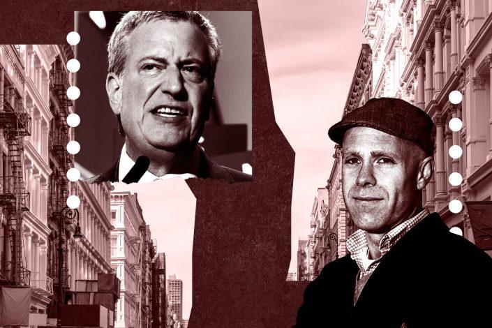 Mayor Bill de Blasio and Greenwich Village Society for Historic Preservation's Andrew Berman (Photos via Getty; iStock; Neighbor2Neighbor Greenwich Village)