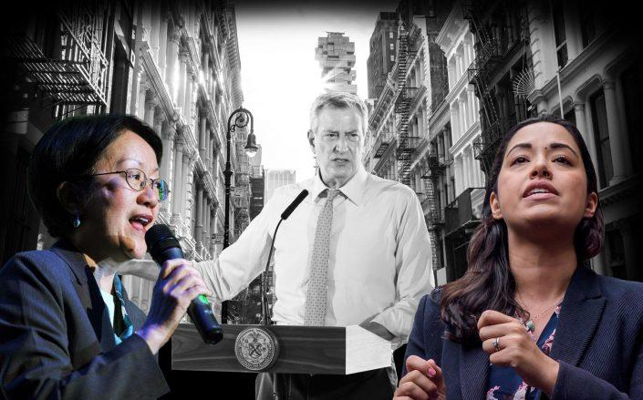 New York City council member Margarate Chin, Mayor Bill de Blasio and council member Carlina Rivera (Getty; iStock)