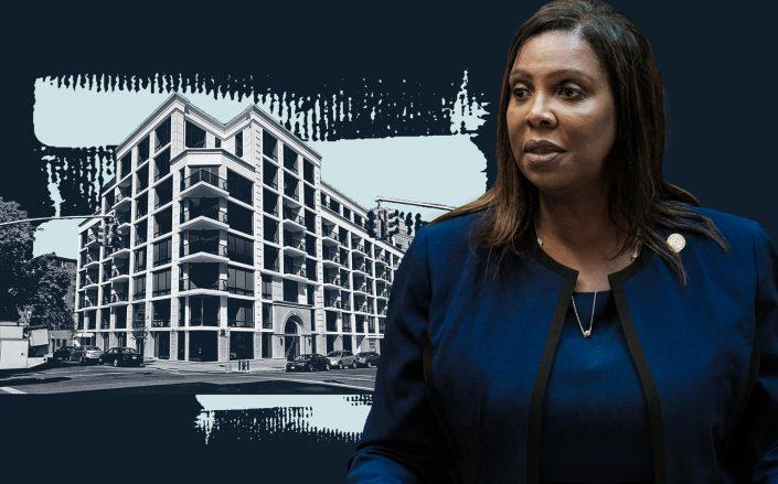 New York Attorney General Letitia James and 63-36 99th Street in Rego Park (Getty; StreetEasy)