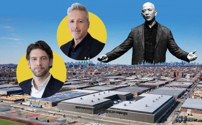 Matthew Dicker, Adam Gordon and Jeff Bezos with 1255 and 12595 Flatlands Avenue (Getty, Brooklyn Logistics Center)