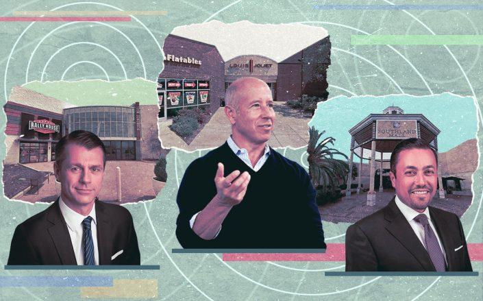 From left: Florence Mall in Kentucky and Brookfield's Brian Kingston; Louis Joliet Mall and Starwood's Barry Sternlicht and Southland Mall in Cutler Bay and Investcorp's Hazem Ben-Gacem (Google Maps, Brookfield, Getty, Investcorp)