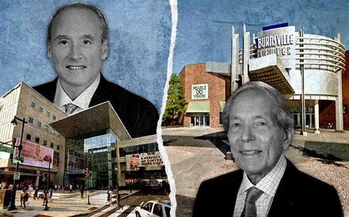 PREIT CEO Joseph Coradino and CBL Properties founder Charles B. Lebovitz with the Fashion District in downtown Philadelphia and the Burnsville Center Mall in Minneapolis (Google Maps)