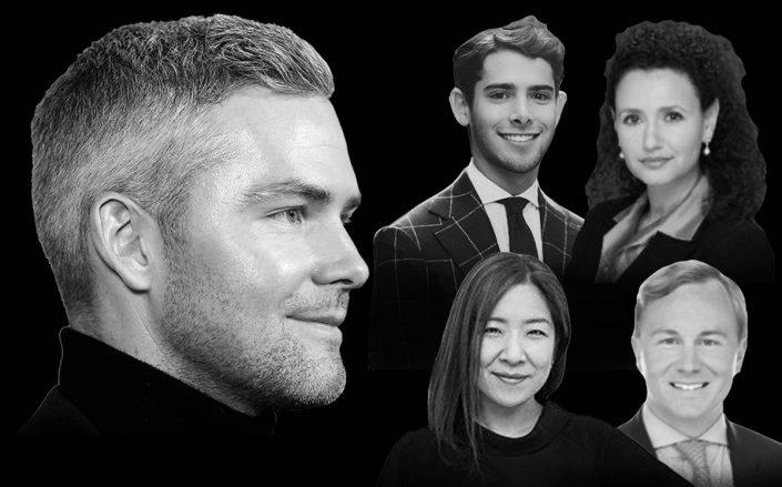 Ryan Serhant and (clockwise from left) Chase Landow, Kayla Lee, Scott Francis and Natalie Vitebsky (Getty)