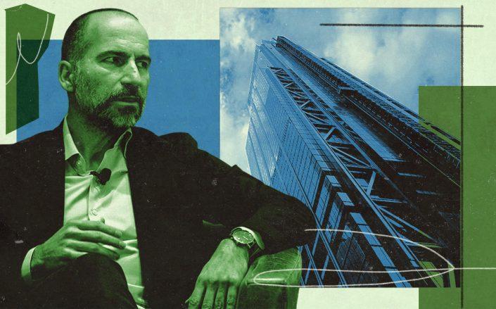 Uber CEO Dara Khosrowshahi and 3 World Trade Center (Getty)